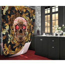 Victorian , Red Skull Shower Curtain