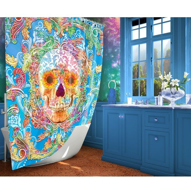 Rainbow Sugar Skull Shower Curtain Day Of The Dead Rebelsmarket