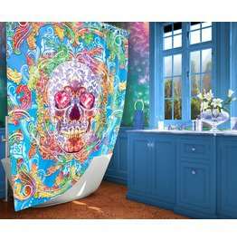 Yami Kawaii Sugar Skull Shower Curtain