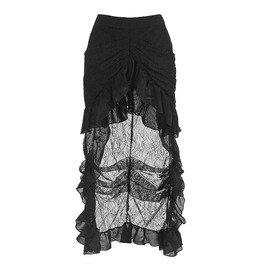 fadd7a7279 Victorian Steampunk Gothic Black Elastic Skirt N12871