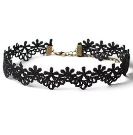 Glamour Slim Black Lace Choker With Flower Design With Adjustable Chain