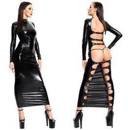 Sultry Pvc Cut Out Bodycon Long Dress