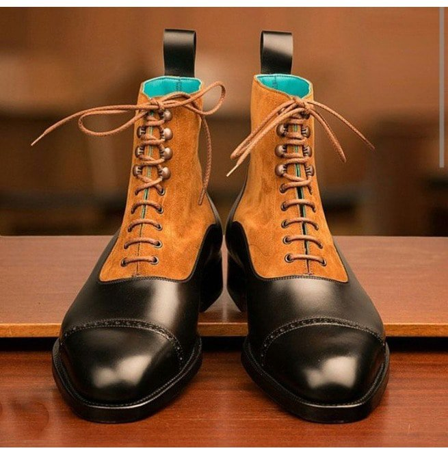 f8a0f79ecec2 Handmade Men Two Tone Cap Toe Leather Ankle Boots Men Lace Up Leather Boots