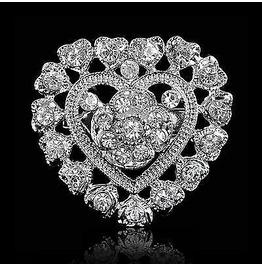 Valentine Diamante Crystal Love Heart Pin Brooch