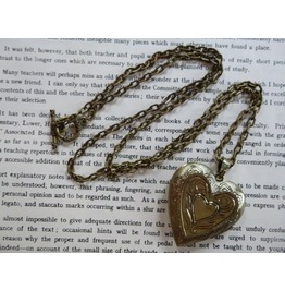 Love Locket Hammered Pattern Brass Antique Tin Heart
