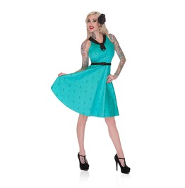 Voodoo Vixen Turquoise Martini Flared Dress