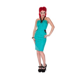 Voodoo Vixen Turquoise Martini Pencil Dress