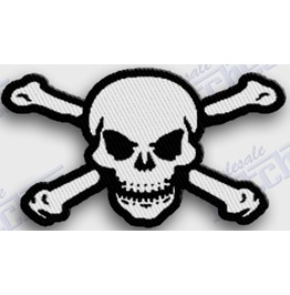 Skull & Crossbones Iron On Embroidered Patch Patches Halloween Pirate