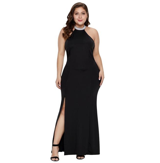 Women\'s Vintage Plus Size Sleeveless Slit Dress