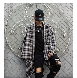 Korean fashion mens plaid shirt casual coat rebelsmarket
