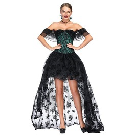 7b3af0e1cf9a6 Victorian Gothic Green Satin Off Shoulder Floral Lace Overbust Corset With  Organza High Low Skirt Set
