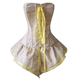 757f5453032 Palace Style Yellow Brocade Lace Up Corset With Skirt N10893