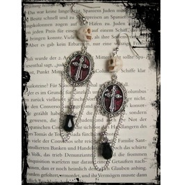 Skull Cross Earrings Chain Pearls