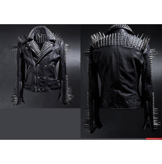 c5b3e718a Men Black Multi Studded With Long Spike Rocker Punk Style Biker Jacket