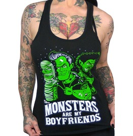 Monsters Are My Boyfriends Black Tank Top