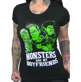 Monsters Are My Boyfriends Black T Shirt