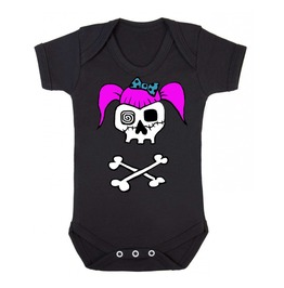 Rockabilly Girl Skull Black Baby Vest
