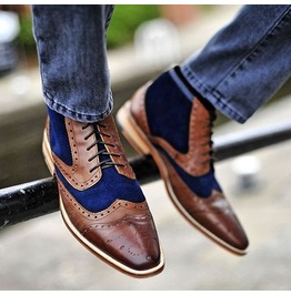 Men Two Tone Wingtip Brogue Ankle Boot Brown And Navy Casual Boot