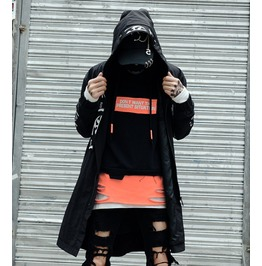 Men punk goth hooded print black long trench coat jacket outwear parka rebelsmarket