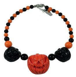 Jack O Lantern Pumpkin Black/Orange Necklace