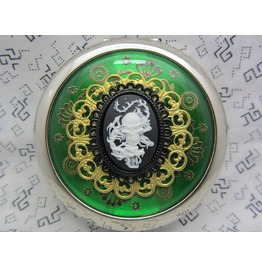 Compact Mirror Skull Dragon Green Comes Protective Pouch