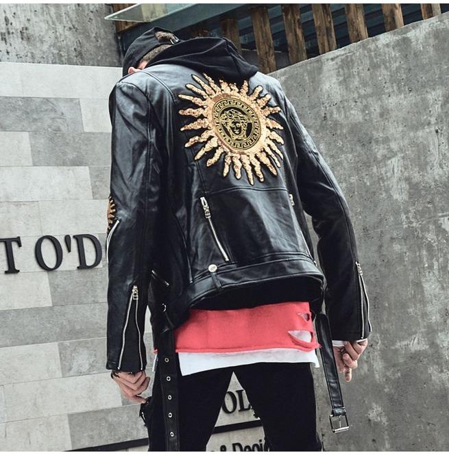 Men Slim Fit Biker Motorcycle Lambskin Leather Jacket Coat Outwear Jackets N1477