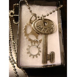Steampunk Number Key Gears Necklace