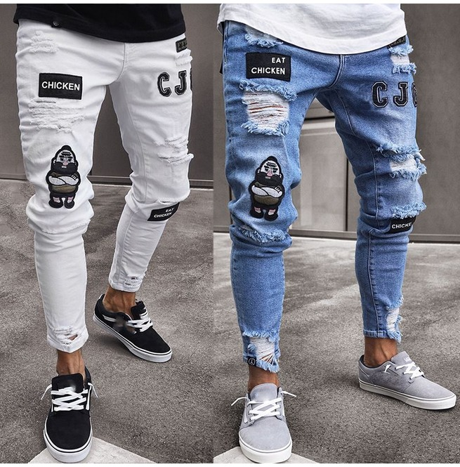 watch outlet for sale new authentic Men's Stretchy Ripped Skinny Jeans Destroyed Denim Pants