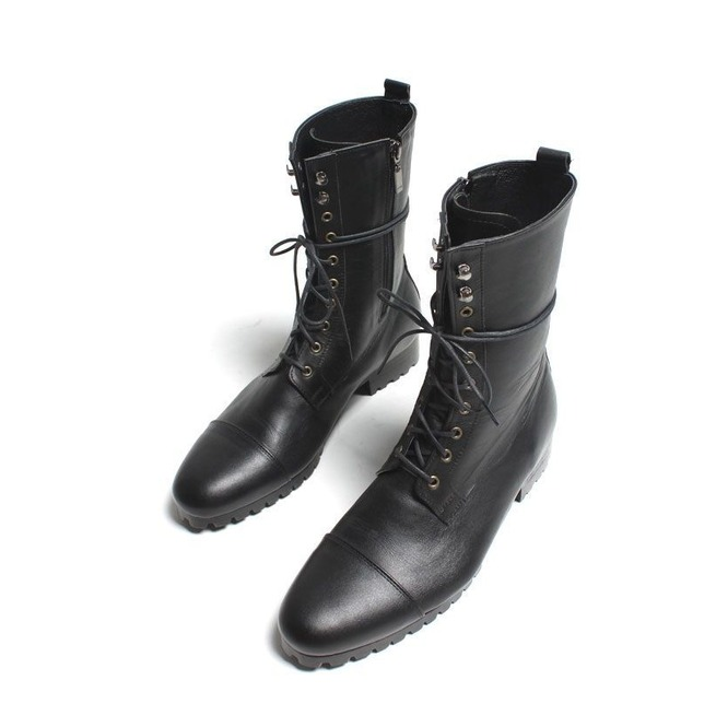 watch beautiful in colour size 7 Handmade Mens Fashion Black Knee High Military Boots Men Black Combat Boots
