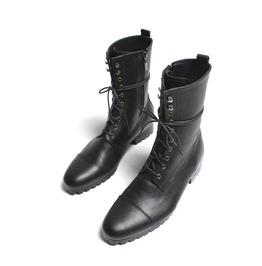 Handmade Mens Fashion Black Knee High Military Boots Men Black Combat Boots