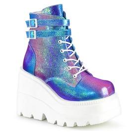Purple Multi Iridescent Vegan Leather Festival Ankle Wedge Boots