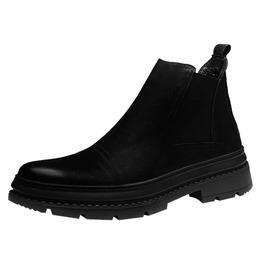 Genuine Leather Round Toe Slip-on Chelsea Boot