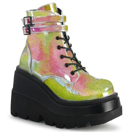 Pink Glitter Vegan Leather Festival Wedge Ankle Boots