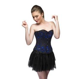 Women's Blue Satin Black Sequined Overbust Top Net Tutu Skirt Corset Dress