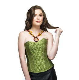 Women's Pea Green Silk Overbust Top,Long Faux Leather Gothic Corset Dress