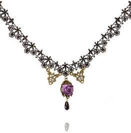 Glamour Black Lace Choker Purple Rose + Antique Bronze Has Adjustable Chain