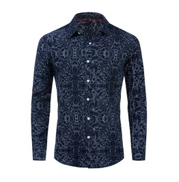 Mens ripple long sleeves shirt blue rebelsmarket