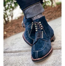 0c85c0ccd84d Handmade Men Navy Blue Suede Lace Up Ankle High Boots