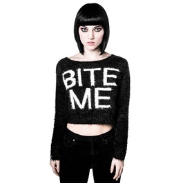 6ad0f27661d Killstar Bite Me Crop Witchy Goth Fuzzy Sweater Ks46