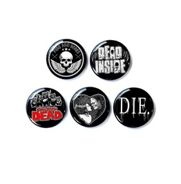 Pins & Bones 5 Pack, Black 1 Inch Pin Back Buttons, Horror Collection 1