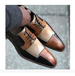 Handmade men 3 tone shoes men dress formal shoe real leather lace up shoe rebelsmarket