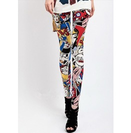 Colorful Cartoon Print Tight Leggings