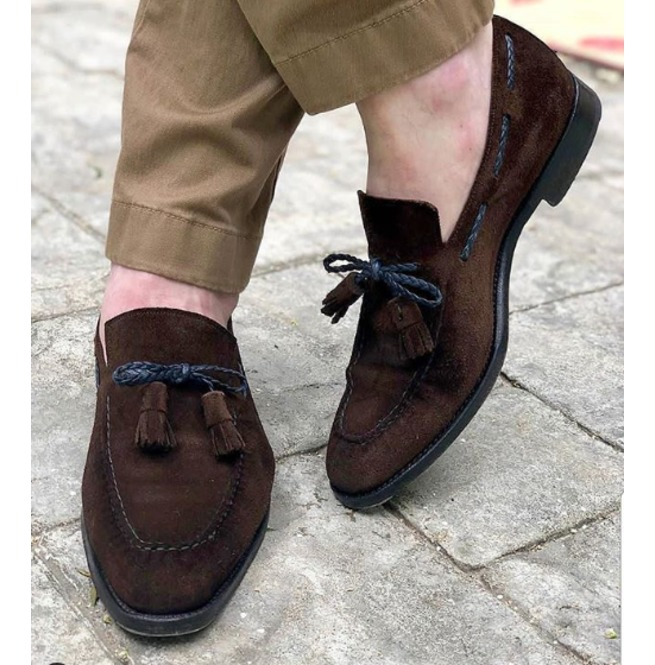 hot new products crazy price more photos Handmade Chocolate Brown Suede Shoes, Men Tassel Moccasin Shoes, Dress