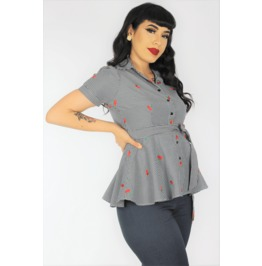 Gingham And Cherries Peplum Top / Maternity Top Extra Small To Three X