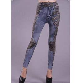 Leopard Print Denim Tight Leggings