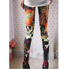 Multi Color Skull Tight Leggings