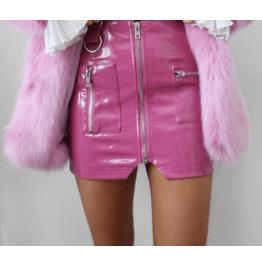 Dark Forest Pink Latex Fetish Womens Mini Skirt