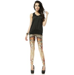 Woman Figure Print Tight Leggings