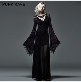 9738e1a28c Gothic Black And Violet Colored Flocking Lace V Neck Long Dress For Women