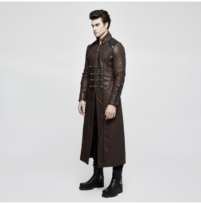 Coffee Winter Men Long Leather Punk Coat With Stand Up Collar Punk Rave